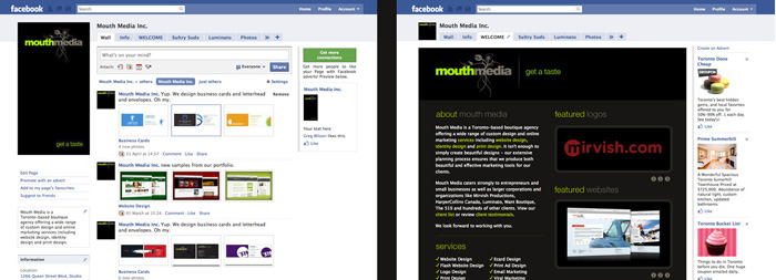 Mouth Media Facebook Page - Wall or Custom Landing Page
